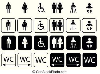 toilette, ensemble, wc, signe, symboles, icône
