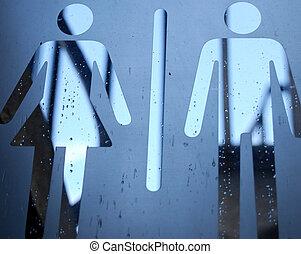 toilette, extérieur, signe