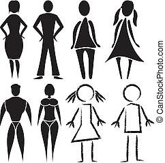 toilette, femme, -, homme, signes