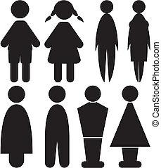 toilette, femme, -, hommes, signes