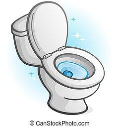 toilette, funkeln, abbildung, sauber