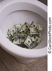 toilette, haut, argent, espèces, sale, lot, fin, inutile