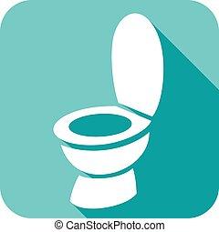 toilette, icône, bol, plat