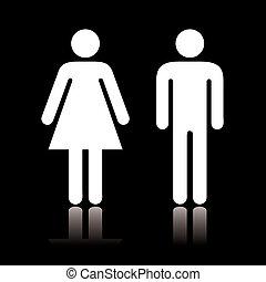toilette, ikone, negativ