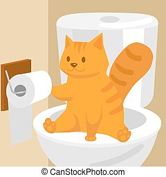 toilette, illustration, chat, vecteur, gingembre, dessin...