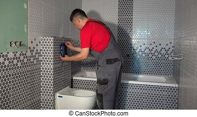 toilette, installer, ouvrier, système, mécanisme, eau, purger, homme