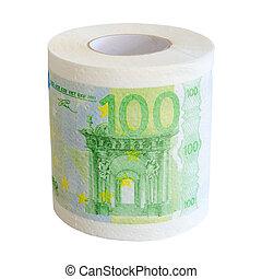 toilette, isolé, billets banque, papier, 100, rouleau, euro