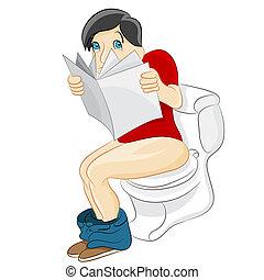 toilette, lesende