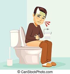 toilette, magen, probleme, mann