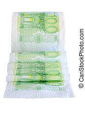 toilette, notes, déroulé, peper, 100, rouleau, banque, euro