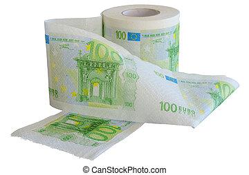 toilette, notes, papier, 100, rouleau, banque, euro