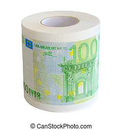 toilette, notesl, isoler, papier, 100, rouleau, banque, euro
