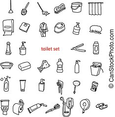 toilette, objets, set., illustration, main, vecteur, dessiné...
