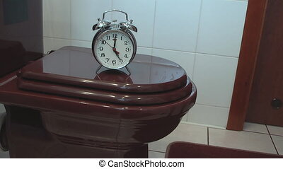 toilette, reveil, bol, horloge
