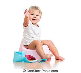 toilette, séance, pot, chambre, papier, bébé, sourire, ...