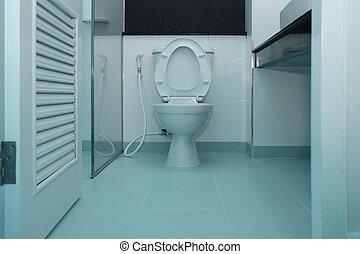 toilette, salle bains, bol, blanc