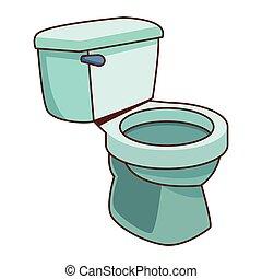 toilette, salle bains, dessin animé