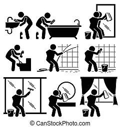 toilette, salle bains, homme, nettoyage fenêtre