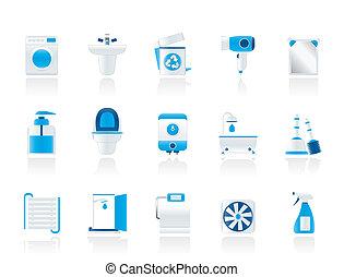 toilette, salle bains, objets