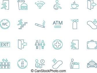toilette, salle bains, symbols., pictogramme, naviguer, wifi, collection, handicapé, vecteur, public, icône