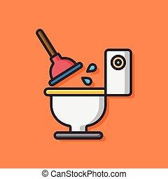 toilette, salle bains, vecteur, icône