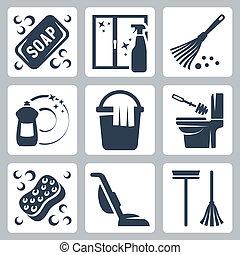 toilette, seife, flüssiglkeit, dishwashing, reiniger, heiligenbilder, staubwedel, schwamm, wischen eimer, erröten, fenster, vektor, putztuch, vakuum, set:, toilette, bürste