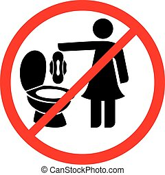 toilette, s'il vous plaît, serviette, -, signe, coussins, vecteur, pas, sanitaire, jeter