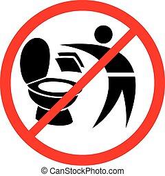 toilette, s'il vous plaît, signe, serviettes papier, pas, ...
