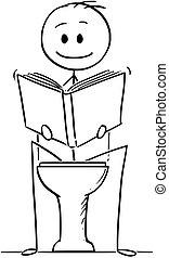toilette, sitzen, buch, lesende , karikatur, mann