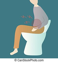 toilette, sitzen, schüssel, leidensdruck, constipation., mann