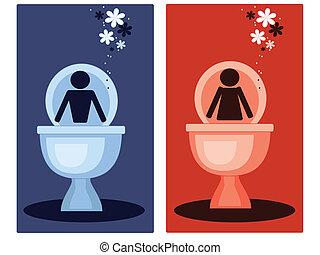 toilette, symbole,