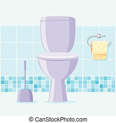 toilette, vecteur, illustration