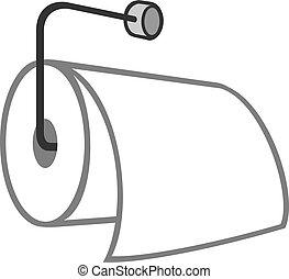 toilette, vecteur, métal, illustration, papier, pendre, support, rouleau