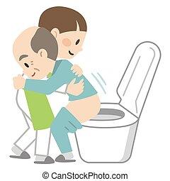 toilette, weibliche , assistieren, caregiver
