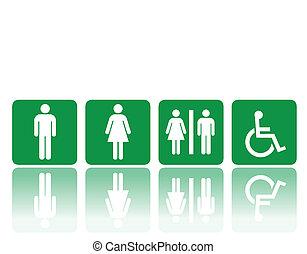toilette, zeichen & schilder, mann frau