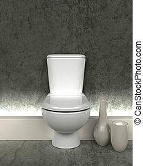 toilette, zeitgenössisch, render, 3d