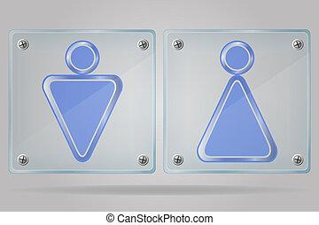 toiletten, schaaltje, meldingsbord, vector, vrouwen, illus, transparant, man