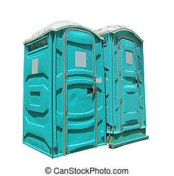 toiletten, zwei, tragbar