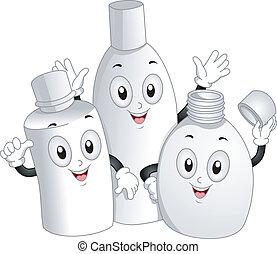 toilettenartikel, flaschen, maskottchen