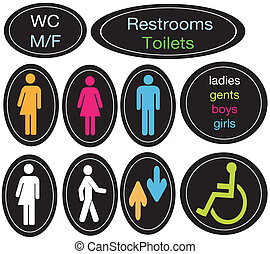 toilettes, ensemble, editable, signe