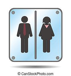 toilettes, femme, homme, signe