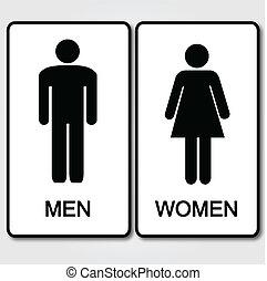 toilettes, illustration, signe