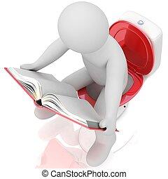 toilettes, livre, lecture, homme
