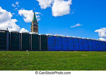 toilettes, portable, canadien, paix, devant, tour