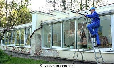 toit, échelle, sale, ouvrier, propre, 4k, élevé, eau, ...