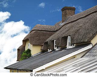 toit, architecture, couvert chaume