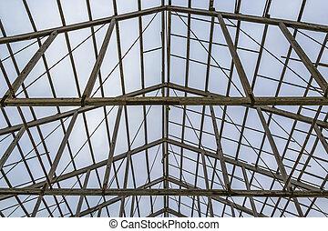 toit, bâtiment, vue, intérieur