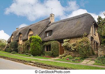 toit couvert chaume, royaume-uni, maison