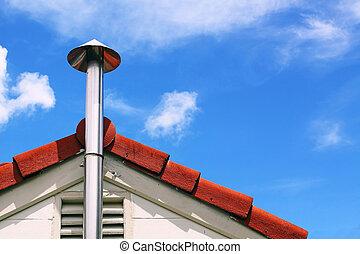 toit, cuisine, fumée, cheminée