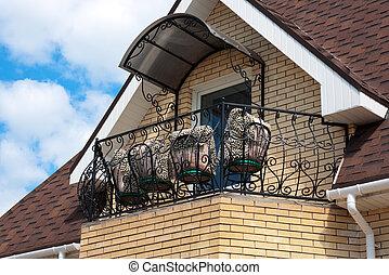 toit, de, maison, et, balcon